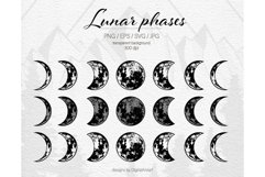 Lunar phases svg Moon phases svg Crescent Moon svg Vector Product Image 1