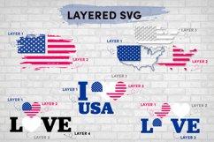 American Flag SVG Bundle, USA Map Flag Layered SVG, Love USA Product Image 2