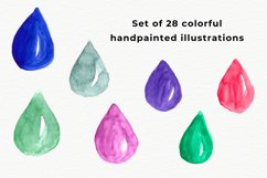 Watercolor water drops, Handpainted drops of water Product Image 2