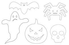 Halloween coloring. Halloween SVG. Spider. Pumpkin. Bat Product Image 3