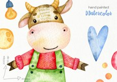 Watercolor Christmas Bulls Clipart - PNG Files Product Image 4