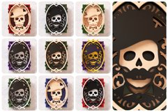 Skull Portrait Wall Art 3D Layered SVG Cut File Product Image 2