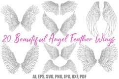 20 Angel Feather Wing Illustration Download Bundle by Squeeb Creative