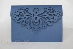 Lace wedding invitation svg, Tri fold envelope template Product Image 5