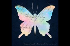 30 Rainbow Glitter Sequin Watercolor Butterfly Clip Arts PNG Product Image 2