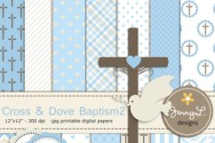 Boy Baptism Digital Papers, Cross Dove Clipart, Product Image 1