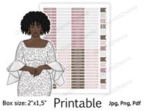 """African American Mom Boss Printable Sticker Box Size 2""""x1,5"""" Product Image 2"""