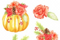 thanksgiving pumkins Watercolor clipart Product Image 2