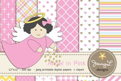 Girl Baptism Angel Digital Papers and  Angels Clipart Product Image 1