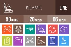 50 Islamic Line Multicolor B/G Icons Product Image 1