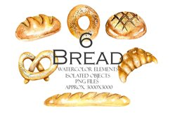 Watercolor BREAD clipart Product Image 4