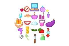 Korean cosmetics icons set, cartoon style Product Image 1