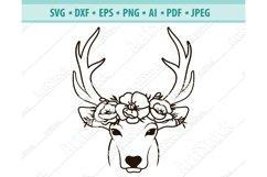 Deer SVG file, Deer with Flower Crown Svg, Png ,Dxf, Eps Product Image 1