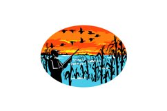 Duck Hunter Flooded Cornfield Oval Retro Product Image 1