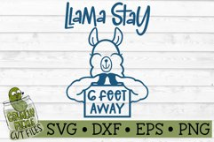 Llama Stay 6 Feet Away SVG Cut File Product Image 2