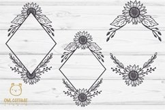 SUNFLOWERS BIG BUNDLE SVG, Floral borders and monograms Product Image 6