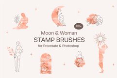 Moon & Woman. Stamp brushes for Procreate & Photoshop Product Image 1
