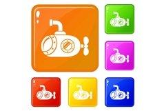 Bathyscaphe icons set vector color Product Image 1
