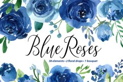 Blue Watercolor Roses Flowers Leaves Product Image 1