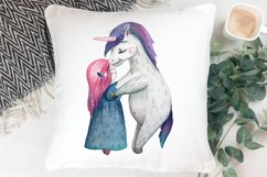 Cute girl hugging unicorn. PNG, JPEG for Sublimation print Product Image 3