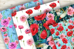 Poppies Flowers, Seamless patterns.Watercolor Flower Product Image 2