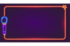 Night neon karaoke frame for song lyrics with microphone. Mu Product Image 1