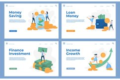 Finance landing pages with flat characters and money cash. S Product Image 1
