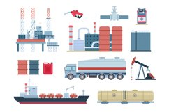 Oil industry and gas production elements, refinery and drill Product Image 1