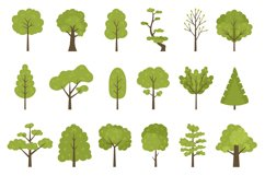 Flat forest trees icons, garden or park landscape elements. Product Image 1