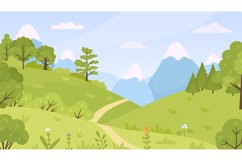 Flat forest with meadow, trees, bushes and mountains landsca Product Image 1