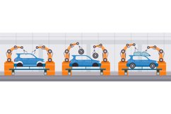 Industry robot arm assemble cars on conveyor belt. Automobil Product Image 1