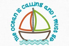The Ocean is Calling Sailboat Applique Design 1273 Product Image 3