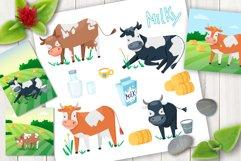 Cartoon cows cute vector set Product Image 1