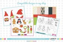 Christmas gnome digital stamp, Christmas coloring sheet Product Image 4