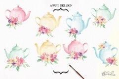 Watercolor Teapots Clipart Bouquets Flowers  Wonderland Florals  Tea Product Image 2