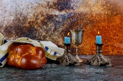 Shabbat eve with challah bread candles wine Jewish Holiday Product Image 1