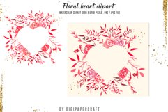 Valentine's Day Digital Paper, Romantic Watercolor clipart Product Image 5