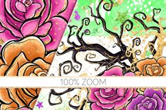 Halloween Flowers Seamless Patterns, Roses Digital Papers Product Image 6