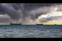 Close-up of the seascape. Blue sea and cargo ships. 3pcs Product Image 2