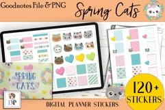 Spring Cats Digital Printable Labels Stickers Goodnotes Product Image 1