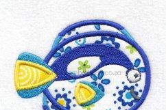 Regal Blue Pet Fish Applique Machine Embroidery Design Product Image 6