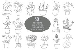 Hand Drawn Doodle Potted Plants Cliparts Product Image 1