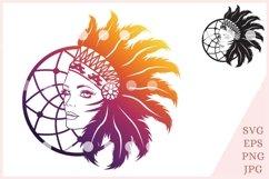Indian girl svg, Indian Headdress Svg File Product Image 1