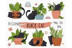 Black cat kids clipart Product Image 1