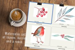 Cute watercolor robin, leaves and berries. Product Image 2