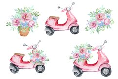 Watercolor Retro Red Moped Clipart Set Product Image 3