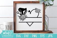 Hairdresser Monogram Split Frame SVG - Floral Heart Product Image 1