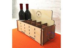 Wine bottles display box. Gift box. Glowforge ready vectors Product Image 3