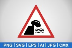 Vector Road Leads on to Quay or River Bank Icon Product Image 1