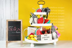 Summer Theme Farmhouse 3 Tier Tray and Wood Chalkboard Sign Product Image 2